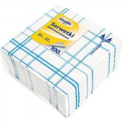 Grosik serwetki gastronomiczne 33x33 100 sztuk kratka niebieski