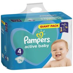 Pampers Active Baby pampersy 4 Maxi (9-14kg) 76sztuk