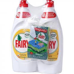 Fairy Duo płyn do naczyń 2x650ml+gąbka Cytryna