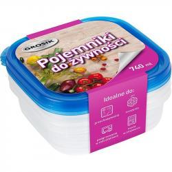 Grosik pojemnik do żywności plastikowy 740ml 3 sztuki