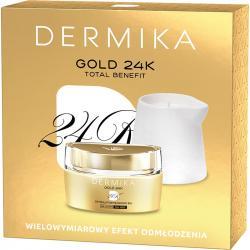 Dermika Zestaw Gold24K 55+ stymulator młodości + świeca do masażu