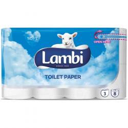 Lambi papier toaletowy, 3 warst., 8 rolek, biały