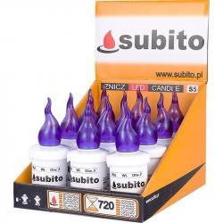 Subito S5 wkład do zniczy LED Fioletowy 12 sztuk