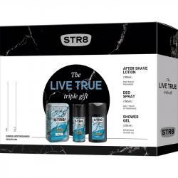 STR8 zestaw Live True woda po goleniu 100ml + dezodorant 150ml + żel pod prysznic 250ml