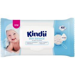 Cleanic Kindii Chusteczki dla dzieci i niemowląt 100 sztuk Skin Balance