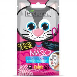 Bielenda Crazy Mask Maska oczyszczająca w płacie Kotek
