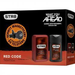 STR8 zestaw Red Code woda toaletowa 100ml + żel pod prysznic 250ml + uchwyt GSM