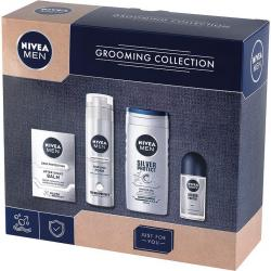 Nivea MEN zestaw Grooming Collection pianka do golenia + żel pod prysznic + balsam po goleniu + roll-on