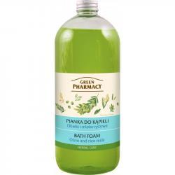 Green Pharmacy pianka do kąpieli 1L Oliwki i Mleko Ryżowe