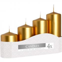 Bispol świeca walec 50 metalik złota 4szt