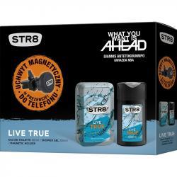 STR8 Zestaw Live True woda toaletowa 100ml + żel pod prysznic 250ml + uchwyt GSM