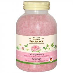 Green Pharmacy sól do kąpieli 1300g Róża i Zielona Herbata