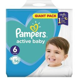 Pampers Active Baby pampersy 6 Extra Large (13-18kg) 56 sztuk