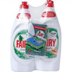 Fairy Duo Sensitive płyn do naczyń 2x650ml+gąbka