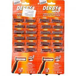 Derby PRO3 Golarki 3-ostrzowe jednorazówki 24 sztuki