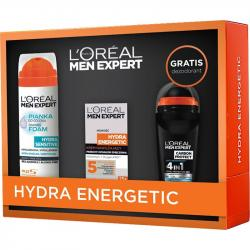 Loreal Zestaw Men Hydra Energetic krem 50ml+pianka do golenia Hydra Sensitive 200ml+dezodorant antyperspiracyjny Carbon Protect 50ml