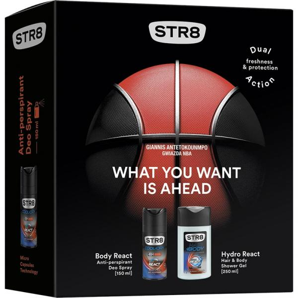 STR8 zestaw DA Body React antyperspirant 150ml + żel pod prysznic 250ml
