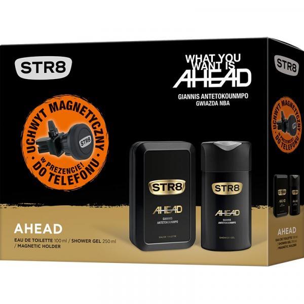 STR8 zestaw Ahead woda toaletowa 100ml + żel pod prysznic 250ml + uchwyt GSM