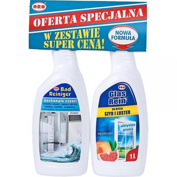 ORO zestaw spray do łazienek Fresh 1L + spray do szyb Egzotyczny 1L